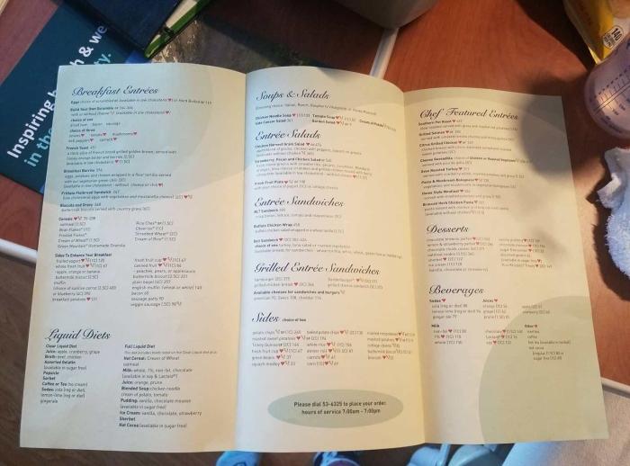 hospital menu